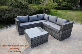Modern L Shaped Sofa Set Rattan Corner Patio Lounge Cushioned 5 Seater S... - $628.04