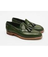 Handmade Men Green color Tassels Shoes, Men Green leather loafer moccasi... - $159.99
