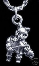 NICE 1830 CAT AND THE FIDDLE Charm Sterling Silver Jewelry - $17.22