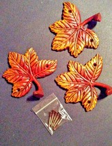 3 Maple leaves metal wall sculpture decor w/hardware fall colors indoor... - $16.44