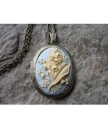 LILY OF THE VALLEY CAMEO LOCKET - ANTIQUE BRONZE, CREAM ON PALE BLUE, QU... - $23.89