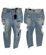 Fashion Nova Super Distressed Light Wash Skinny Pants High Waist Women's... - $27.72