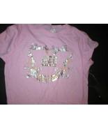 NWT $105 Womens L M Antik Denim Tee Shirt Pink Silver Logo New Top Designer - $16.00