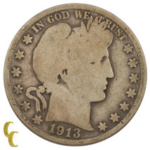 1913 Silver Barber Half Dollar 50C (Good, G Condition) Full Complete Rims - $79.17