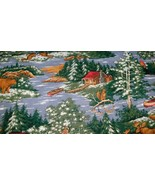 The Lodge Fabric Hunting Cabin Bear Moose Canoe Squirrel Water BTY - $8.09