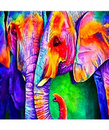 5D Animal Diamond Painting Colourful Elehants Full Rhinestone Cross Stit... - $12.00