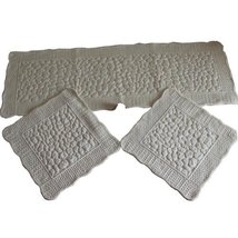 Set of 3 Plush Seat Cushions/General Car Cushion/Sofa Cushion,Creamy-white