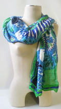 "STELLA & DOT Union Square Scarf SPRING GREEN MIXED Viscose Wrap 38""x70"" ... - $21.80"