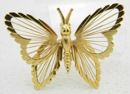 Vintage Large MONET Gold Toned Open Wired Design Butterfly Brooch Pin - $29.70