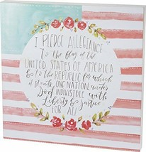 Pledge of Allegiance American Flag Watercolored Box Sign Primitives by K... - $39.95
