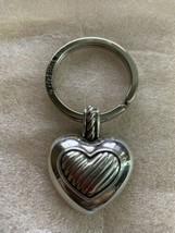 New BRIGHTON Puffed Heart Silver Keychain Key Ring - $14.54