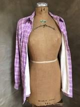 LL BEAN Lavender PLAID MINKY-LINED Fleece JACKET Shirt S/M - $43.40