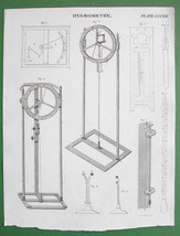 HYGROMETERS De Luc's Leslie's etc  - 1830 Antique Print Engraving - $8.55