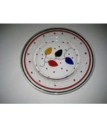 Unique Art Glass Hand Painted Clear Dessert Snack Christmas Dish Plate - $18.29
