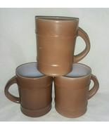 3 Anchor Hocking Fire King Ranger Brown Barrel Coffee Mugs Made USA Oven... - $18.99