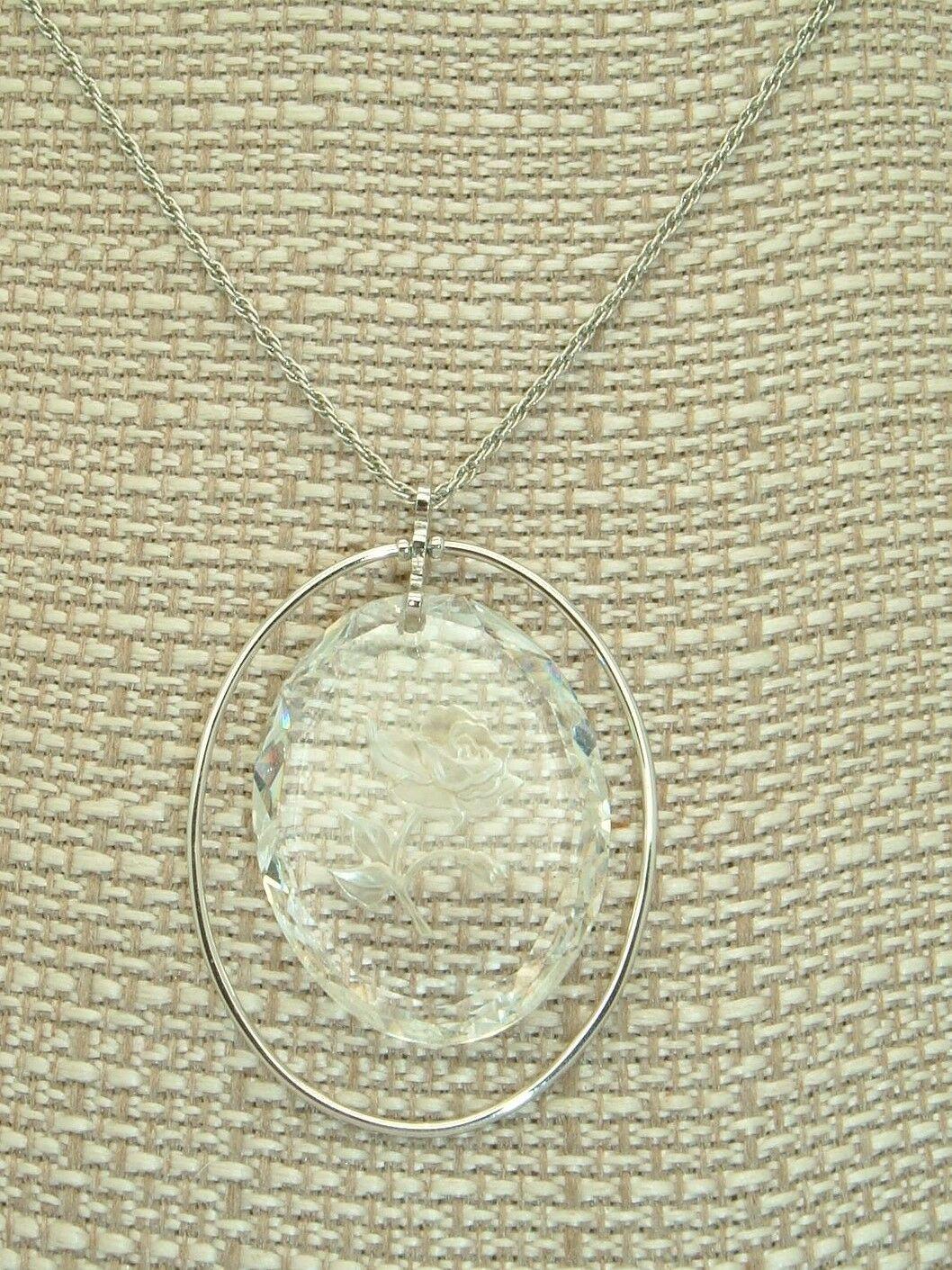 Vtg Necklace Little Gallery Lead Crystal Rose Pendant Hallmark Cards Mother boho - $9.90