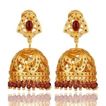9.66 Ct Pink Tourmaline Gemstone Pave Diamond 18K Gold Plated Silver Earrings - $410.85