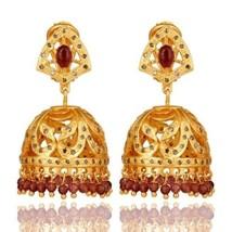 9.66 Ct Pink Tourmaline Gemstone Pave Diamond 18K Gold Plated Silver Ear... - $410.85