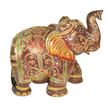 Brown Jade Stone Elephant Covered by Gold Foil Painting Natural Gemstone - $339.21