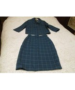 Vintage Womans Pendleton Tartan Blue green Plaid Wool Suit Skirt Jacket ... - $70.00