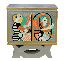Modern Abstract Unique Picasso Silver Chest/Cabinet  Art Furniture,36.5''H - $742.50