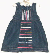 GIRLS BLUE JEAN LACE AND RIBBON DRESS SIZE 12 MOS. - $3.00