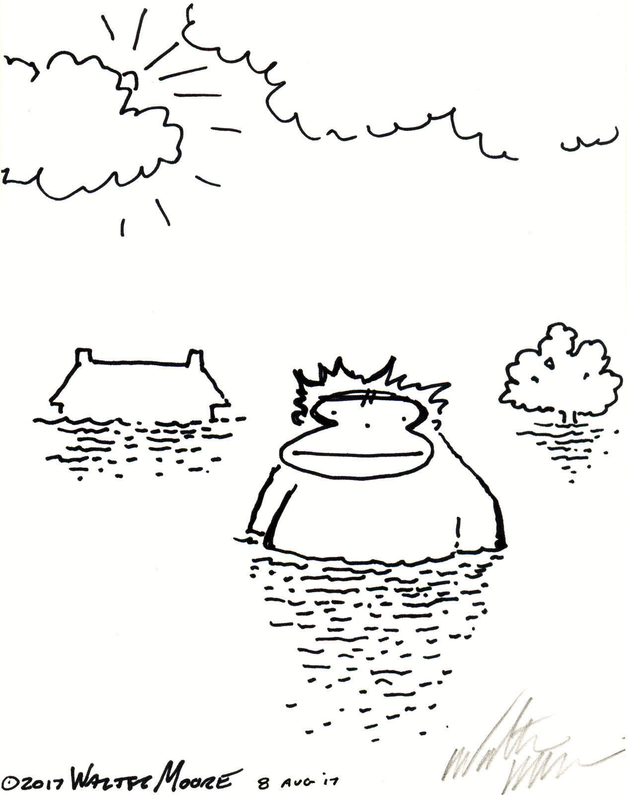 Primary image for Ape Survives the Flood. Original Signed Cartoon by Walter Moore