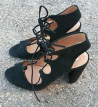 "NEW Steve Madden Women's Sandal Sz 10 Black 4.5"" Heel Suede Lace Up Nilunda $100 - $35.63"