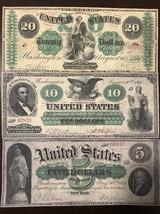 Reproduction Copies 1861 Demand Notes $5,$10,$20 Civil War USA Set - $7.91