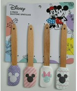 """Disney Mickey Minnie Mouse 8"""" Silicone Spatulas 4 Pack NEW Wooden Handle - $15.99"""