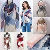 Hot Fashion Warm Cashmere Plaid Blanket Women's Warp Scarf Pashmina Shawl image 14