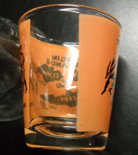 Virgin Islands Shot Glass Orange Wrap Black Print Three Islands Steel Drums