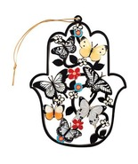 Wood laser cut cheerful hamsa ornament for home with flowers and butterf... - £22.32 GBP