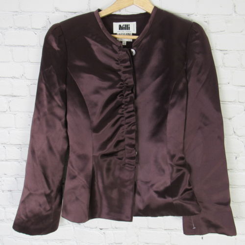 Armani Collezioni Jacket Blazer Womens Size 8 Purple Silk C64