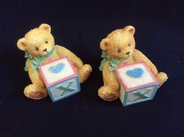 "Set of 2 Enesco Cherished Teddies Bear with cube block letter ""X"" Figuri... - $11.88"