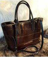 Dooney & Bourke Brielle Espresso Brown Black Croco Leather Shoulder Tote - $114.99
