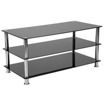 Riverside Collection Black Glass TV Stand with Stainless Steel Frame   - $113.97