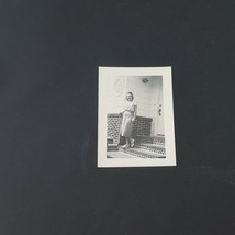 Vintage Photo Beautiful Young Woman On Front Porch  - $2.48