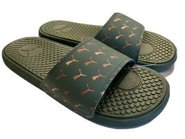 PUMA Womens Sz 10 Cool Cat Athletic Sport Slides Sandals Olive Green Rose Gold - $34.97
