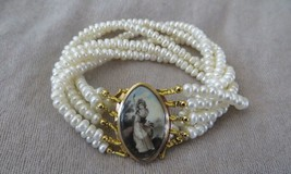 "Georgian 1790's Sepia Sheepherdess Woman Miniature Clasp Pearl Bracelet 7-8"" - $690.00"