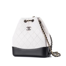 BNIB 2019 Chanel White Black Gabrielle Quilted Leather Bucket Bag RECEIPT  image 2