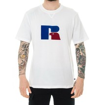 MAN RUSSELL ATHLETIC HERITAGE S / S FLOCK TEE T-SHIRT E9.651.1.001UW CRE... - $58.29