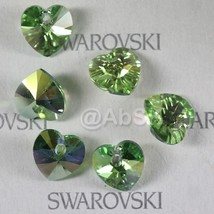 4 pieces 14mm Swarovski XILION Heart Pendant Crystal 6228 6202 PERIDOT AB - $5.60