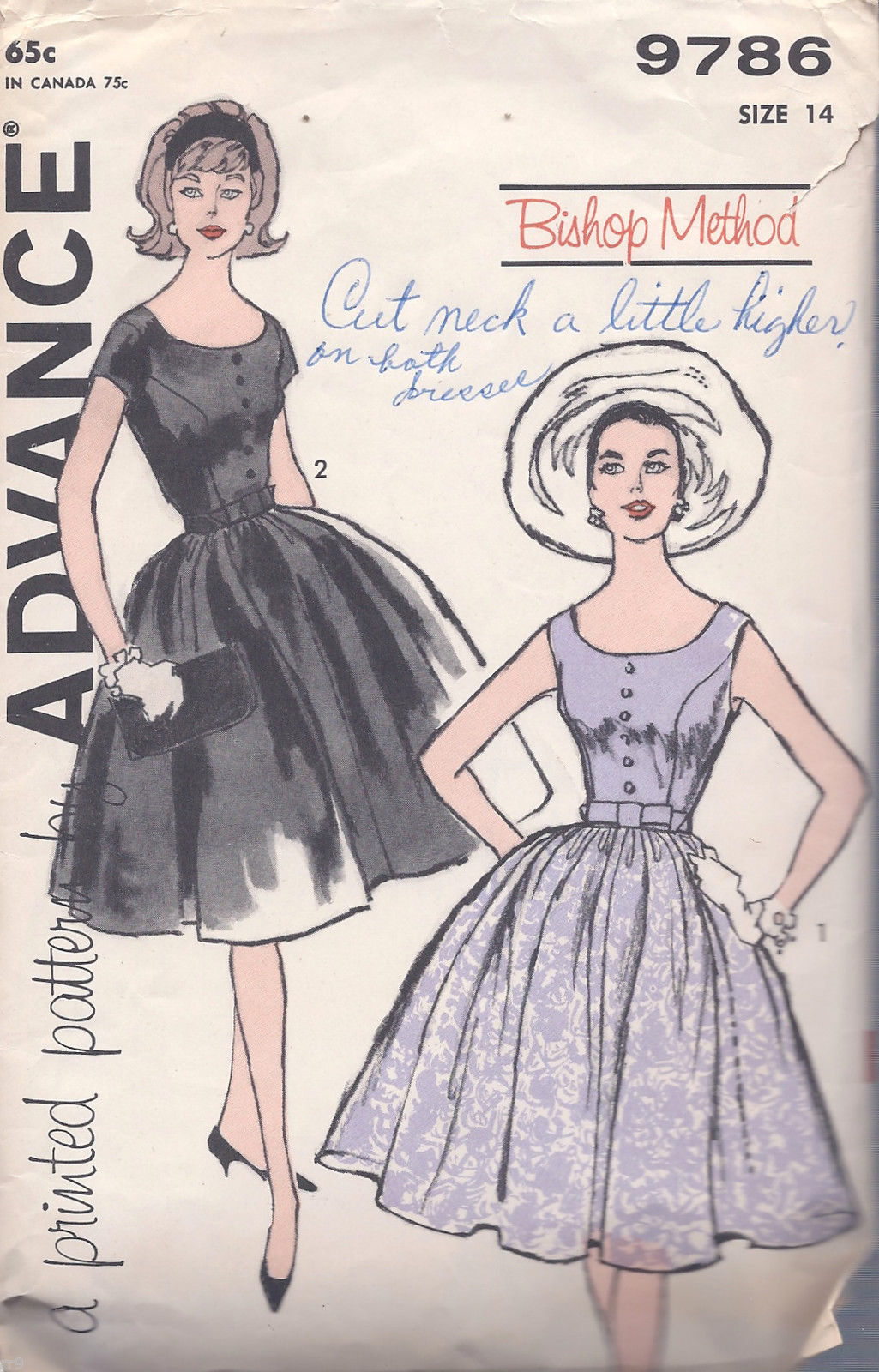 Primary image for Advance 9786 Misses' Dress  Size 14