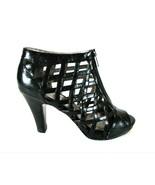 Sofft Black Leather Zip Front Woven Bootie Heels Shoes Women's 8 1/2 M (... - $61.99