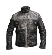 Mens Vintage Motorcycle Retro Distressed Black Antique Biker Leather Jacket image 2