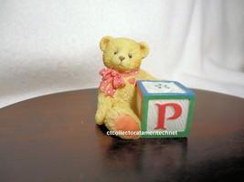 Cherished Teddies Bear With ABC P Alpha Letter Block 1995 UNB - $9.85