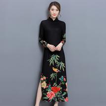 pf202 Sexyenhanced Chinese Cheongsam W BAMBOO printing,Size m-3xl, black - $18.80+