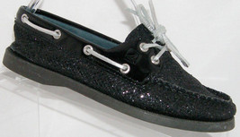 Sperry Top-Sider A/O black glitter lace up slip on casual boat shoes 5M - $30.44