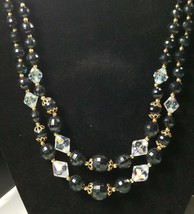 Vintage Signed Lisner Two Strand Necklace Black And Ab Beads - $27.56